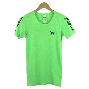 VICTORIAS SECRET PINK | Neon Green T-Shirt